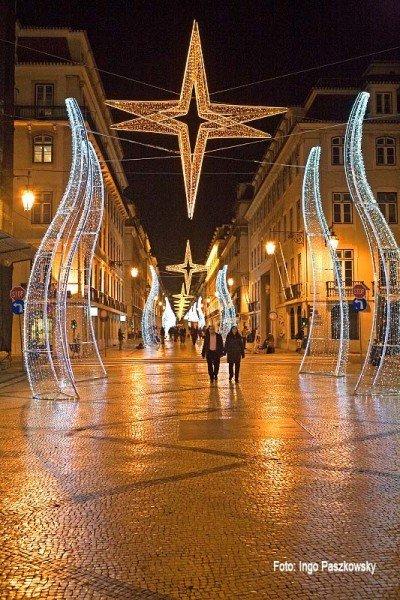 Weihnachtliche Stimmung im Lissaboner Stadtteil Baixa. Foto: Ingo Paszkowsky