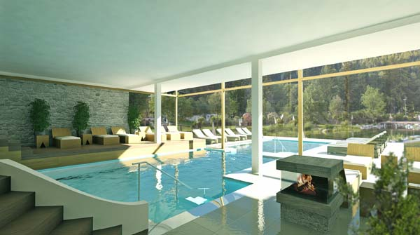Der neue Innenpool verfügt über eine großzügige Wasserfläche. Foto: Hotel Forsthofgut