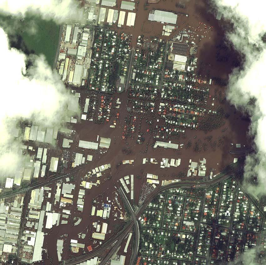 Australien. Das schöne Brisbane unter Wasser am 12. Januar 2011. Foto: DigitalGlobe