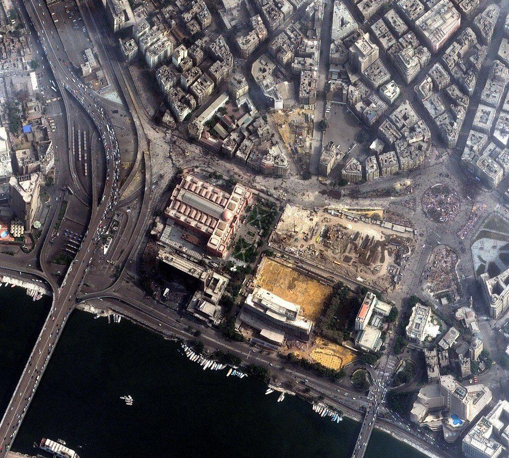 Kairo, Ägyten am 3. Februar 2011 zur Zeit der Proteste. Foto: DigitalGlobe