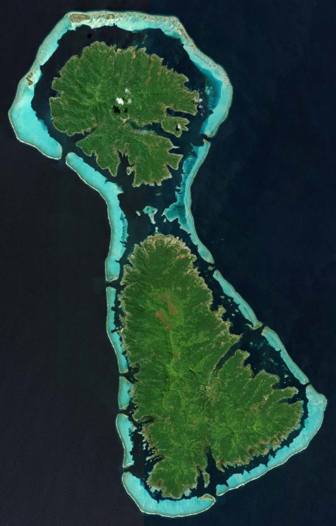 Tahaa und Raiatea, am 5. Oktober 2011. Die beiden Inseln gehören zu den Gesellschaftsinseln, eine Inselgruppe, die wiederum Bestandteil von Französisch-Polynesien im Pazifischen Ozean ist. Foto: DigitalGlobe