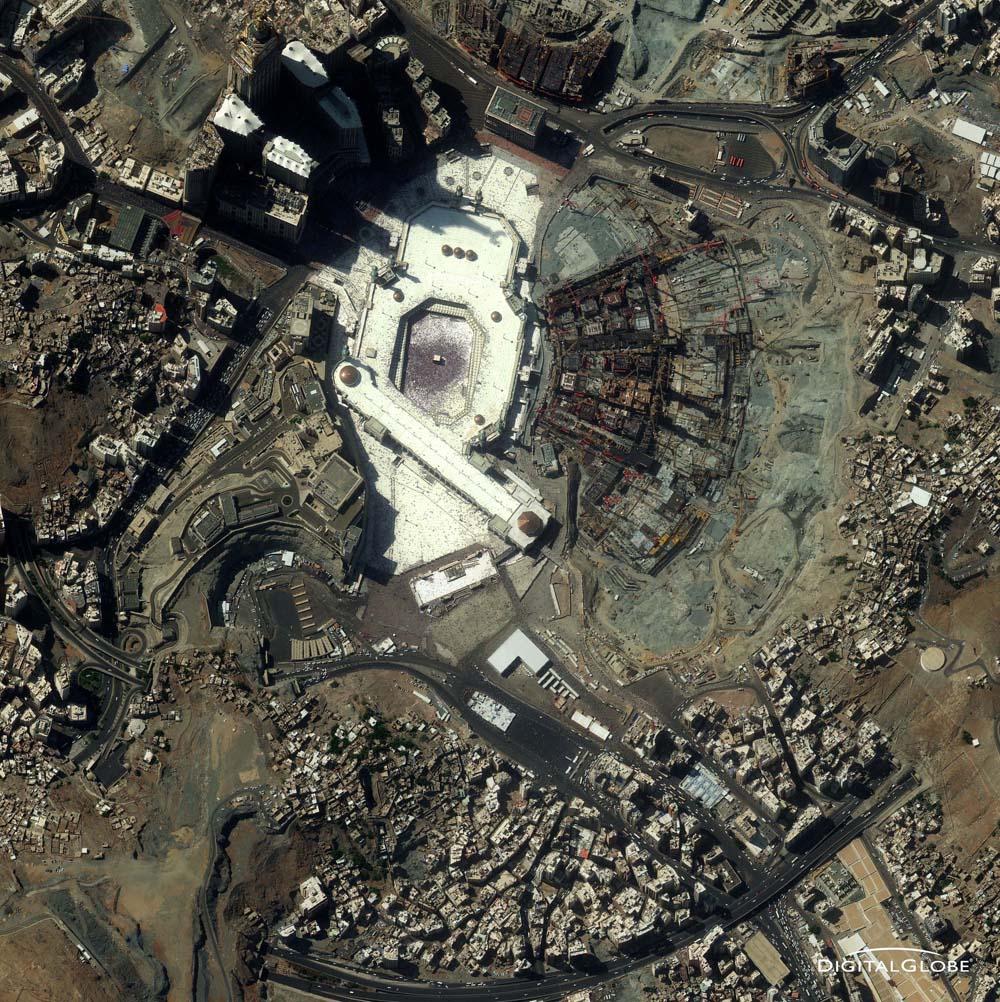 Mekka, Saudi-Arabien, am 2. November 2011. Mekka ist die Geburtstadt Mohammeds und die heiligste Stadt der Muslime. Diese Aufnahme entstand im Vorfeld des Haddsch, der islamischen Pilgerfahrt, von 4. bis 9. November 2011. Foto: DigitalGlobe