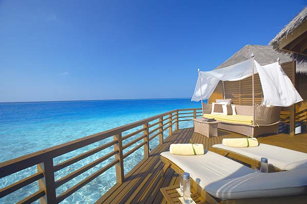 Wasser-Villen des Fünf-Sterne Luxus Resorts Baros Maldives im Nord-Malé-Atoll. Foto: Baros