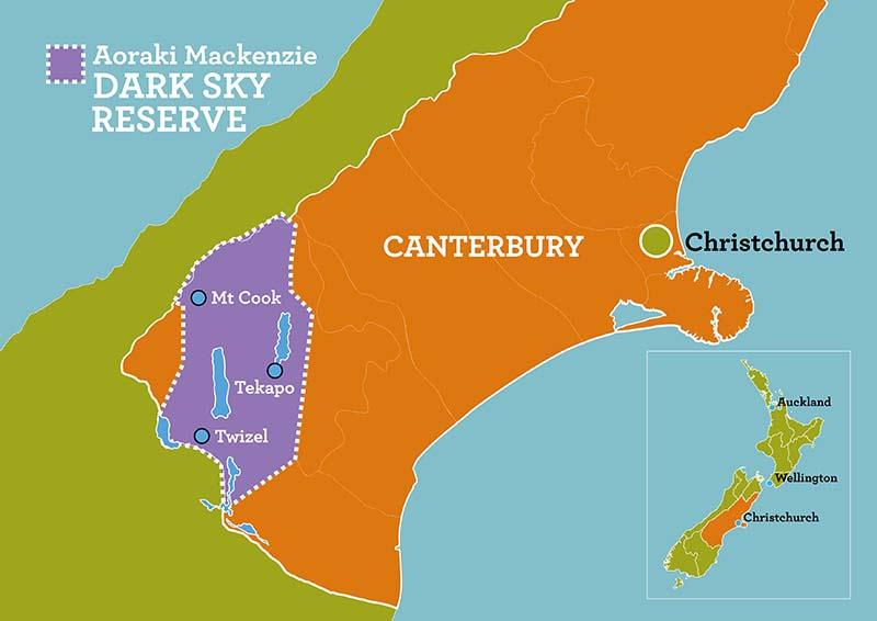 Das Mackenzie-Becken bildet mit dem Aoraki/Mount Cook National Park das Aoraki Mackenzie International Dark Sky Reserve – das weltweit größte geschützte Himmelsgebiet. Grafik: Tourism New Zealand