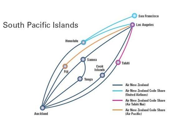Streckennetz im Südpazifik. Foto: Air New Zealand