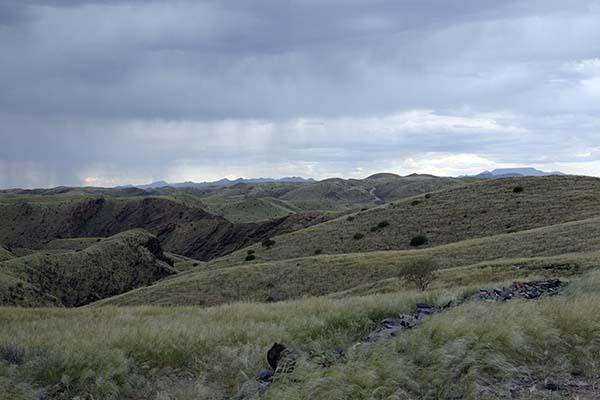 Auf dem Weg nach Solitaire fährt man durch die Graslandschaft am Kuiseb Pass. Foto: Ingo Paszkowsky