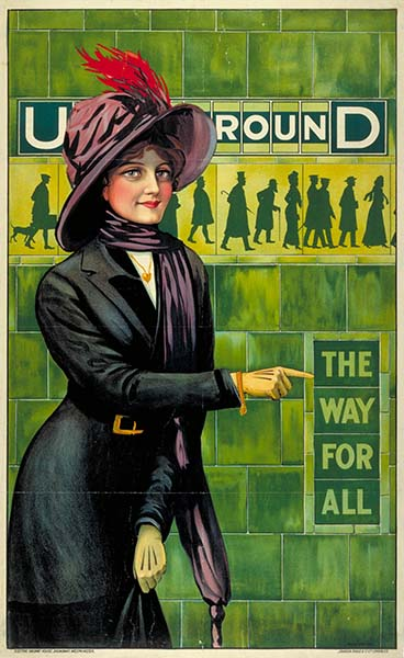 Die Londoner U-Bahn ist die älteste der Welt. Underground; the way for all, by Alfred France, 1911. Courtesy of London Transport Museum