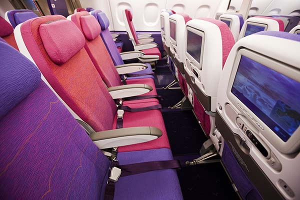 Die Economy Class im A380. Foto: Thai Airways