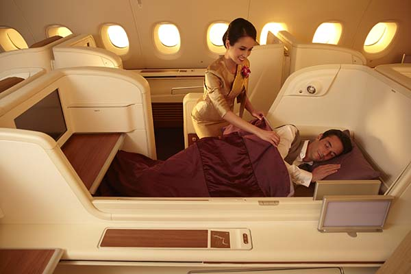 Nahezu königlich schläft man in der Royal First Class in der Thai Airways A380. Foto: Thai Airways