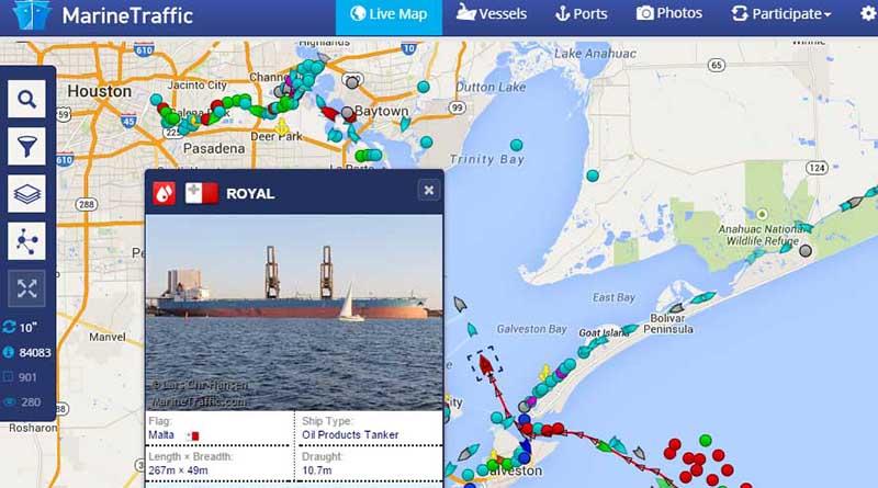 Schiffe (online) entdecken und beobachten – Marine Traffic