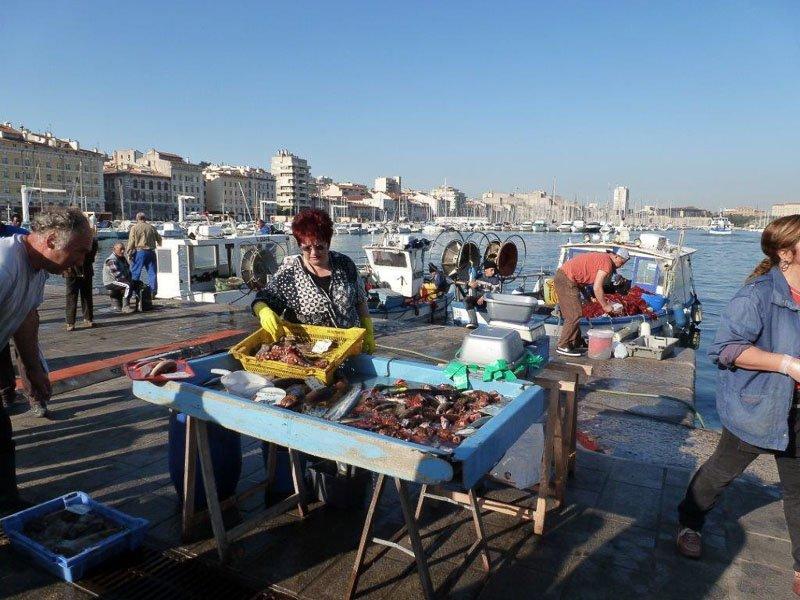 Jeden Morgen wird am Vieux Port ein Fischmarkt abgehalten. Foto: Perino