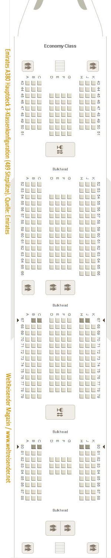 Emirates A380, Drei-Klassen-Konfiguration, Hauptdeck, Variante mit 489 Plätzen / Quelle: Emirates / Copyright 2018 WeltReisender.net