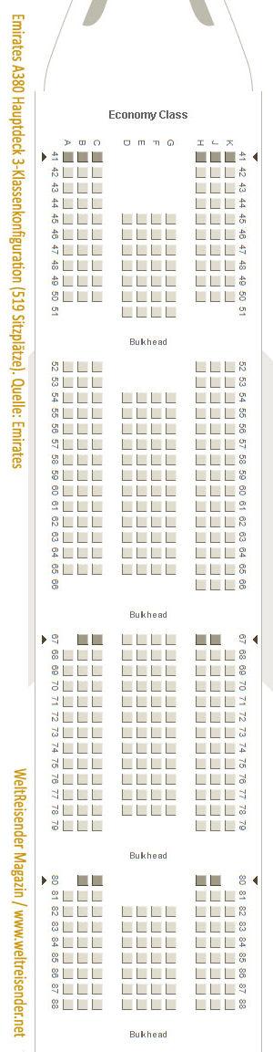 Emirates A380, Drei-Klassen-Konfiguration, Hauptdeck, Variante mit 519 Reisenden / Quelle: Emirates / Copyright 2018 WeltReisender.net