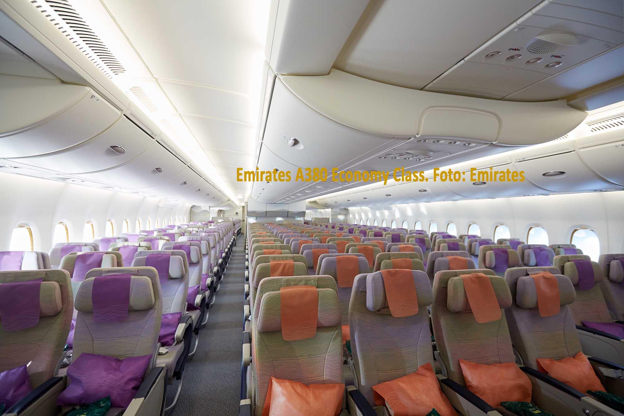 Emirates A380 Economy Class. / Foto: Emirates