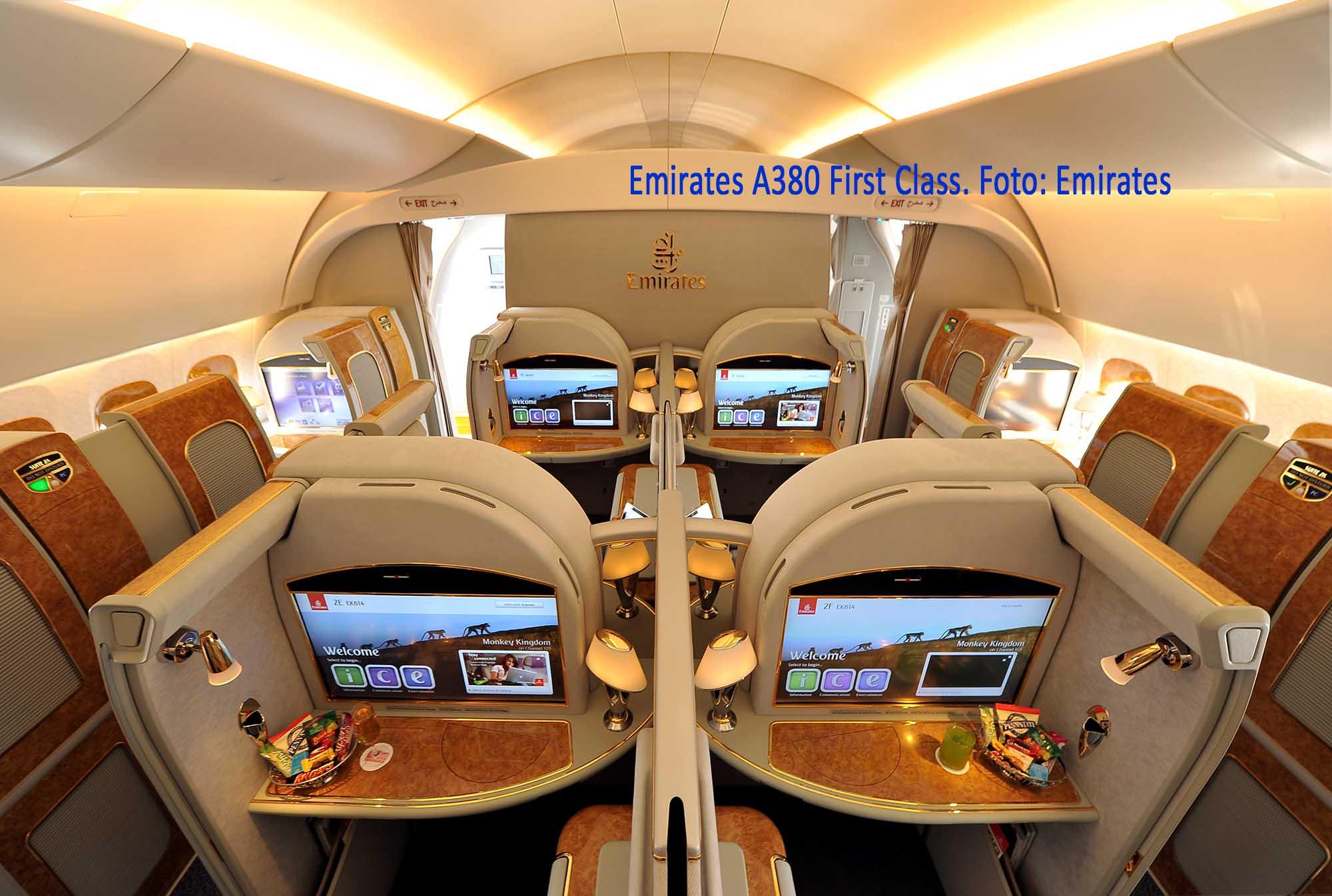 Emirates A380 First Class. Foto: Emirates