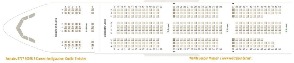 Emirates B777-300ER 2-Klassen-Konfiguration