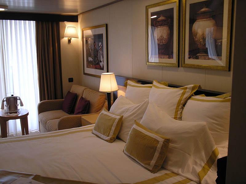 Außen-Kabine mit Balkon. Foto: Cunard