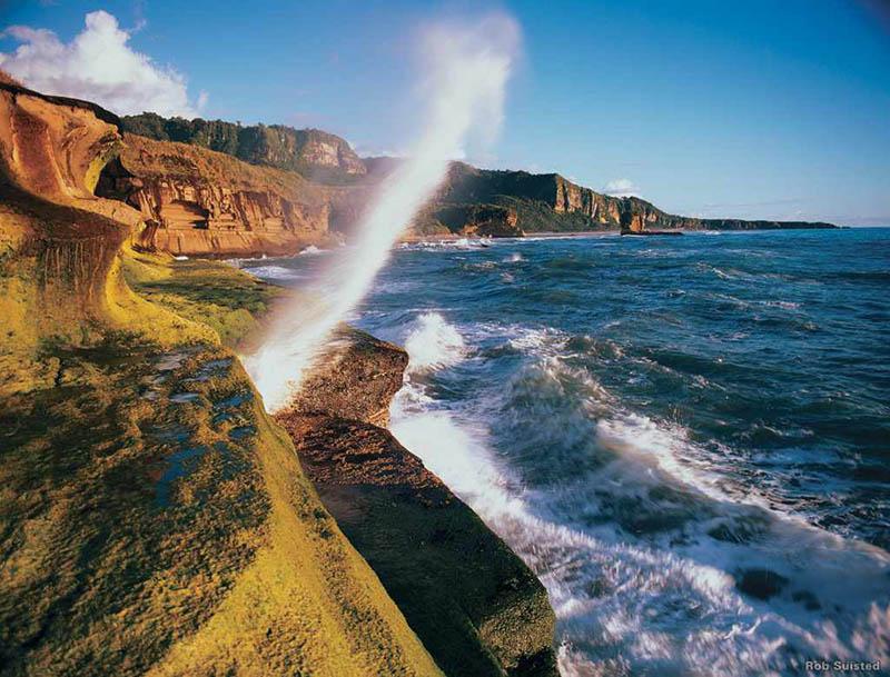 Die Punakaiki-Blowholes an der Küste der Tasmansee. Foto: Tourism New Zealand