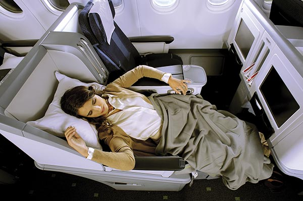Schlafen in der Business Class. Foto: TAP