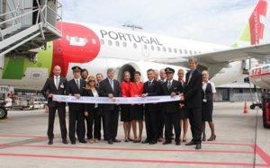 Mit der Landung des Fluges TP 524 auf dem Flughafen Hannover hat TAP Portugal am Nachmittag ihre Verbindung zwischen Hannover und Lissabon eröffnet. Foto: TAP