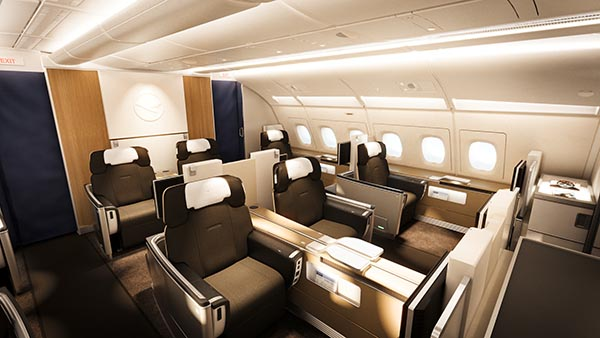 Lufthansa First Class Kabine im A380. Foto: Lufthansa/Pixomondo