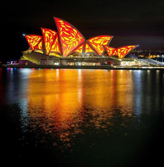 Vivid Sydney 2015: Die Oper leuchtet. Foto: Destination NSW
