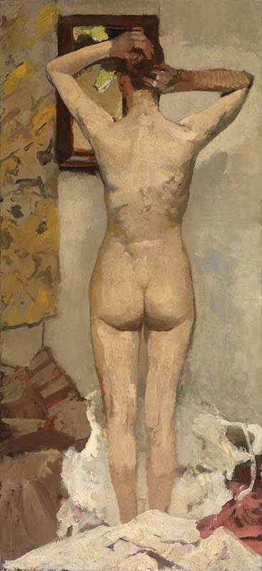 George Hendrik Breitner Staand naakt, 1893. Olieverf op doek, 160 x 43 cm. Koninklijk Museum voor Schone Kunsten Antwerpen. © Lukas - Art in Flanders vzw, foto Hugo Maertens