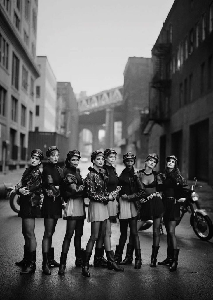 Wild At Heart Cindy Crawford, Tatjana Patitz, Helena Christensen, Linda Evangelista, Claudia Schiffer, Naomi Campbell, Karen Mulder & Stephanie Seymour, Brooklyn, 1991, Vogue US © Peter Lindbergh (Courtesy of Peter Lindbergh, Paris / Gagosian Gallery)