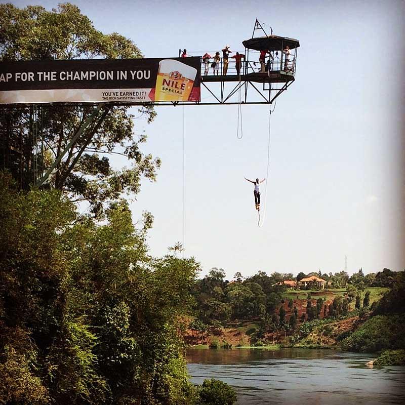 Bungee-Jumping. Ein Sprung kostet ab 100 US$, Mindestalter ist 13 Jahre. Foto: Uganda Tourism Board