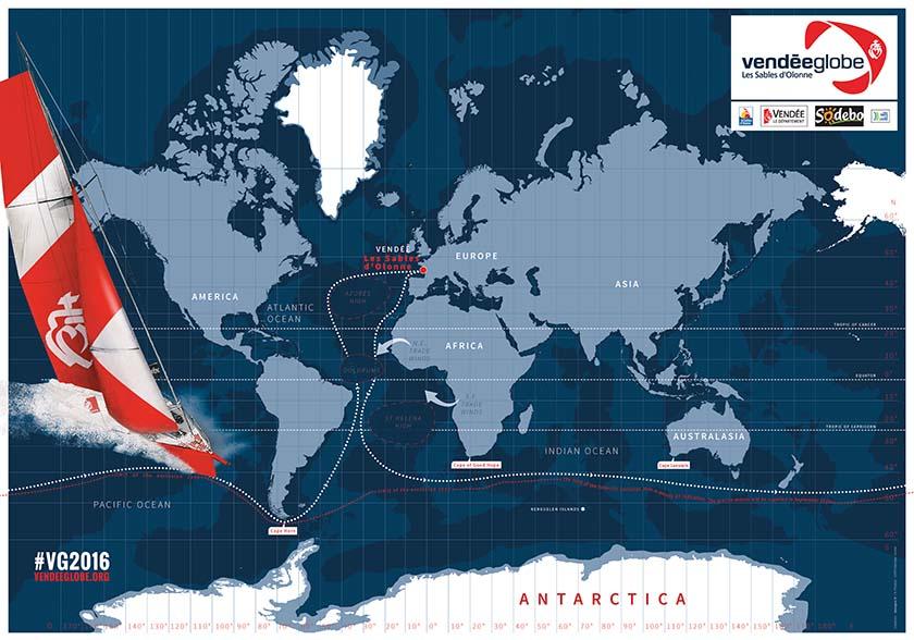 In 90 Tagen um die Welt. Grafik: Vendée Globe