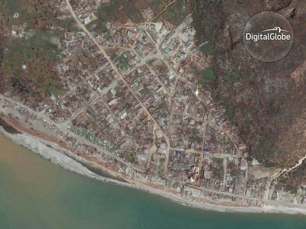 Der Stadtteil Port a Piment nach dem Hurrikan. Bild vom 9. Oktober 2016. Image Copyright 2016 DigitalGlobe Inc