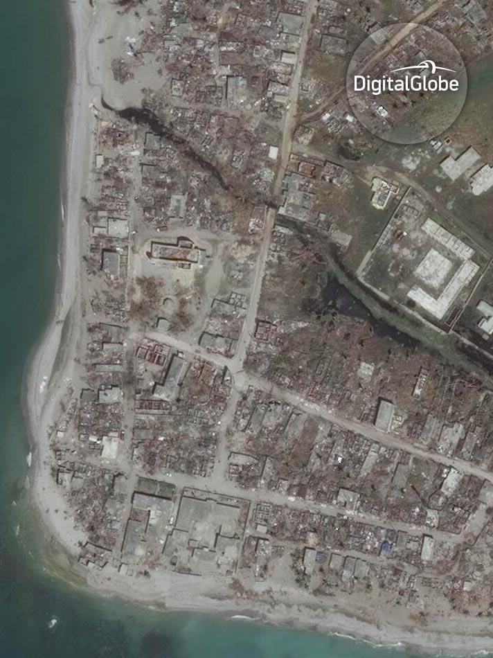 Chardonnieres auf Haiti nach dem Strum. Aufnahme vom 9. Oktober 2016. Image Copyright 2016 DigitalGlobe Inc