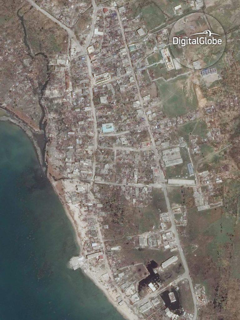 Coteau auf Haiti nach dem Sturm. Satellitenaufnahme vom 9. Oktober 2016. Image Copyright 2016 DigitalGlobe Inc