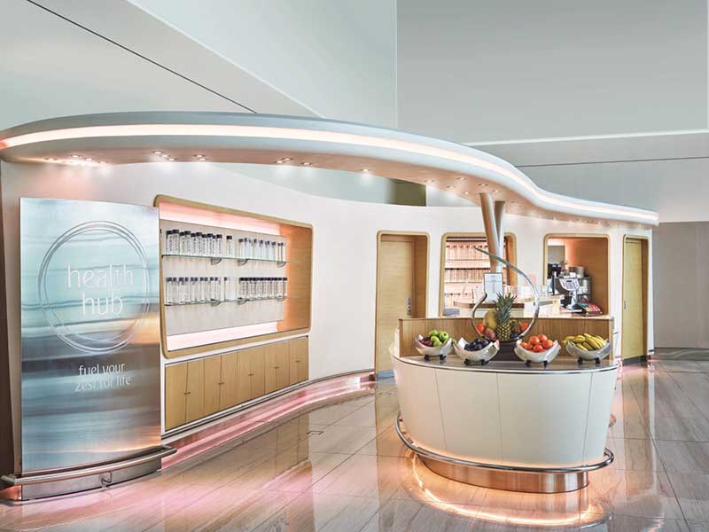 Health Hub in der Business Class Lounge Dubai. Foto: Emirates