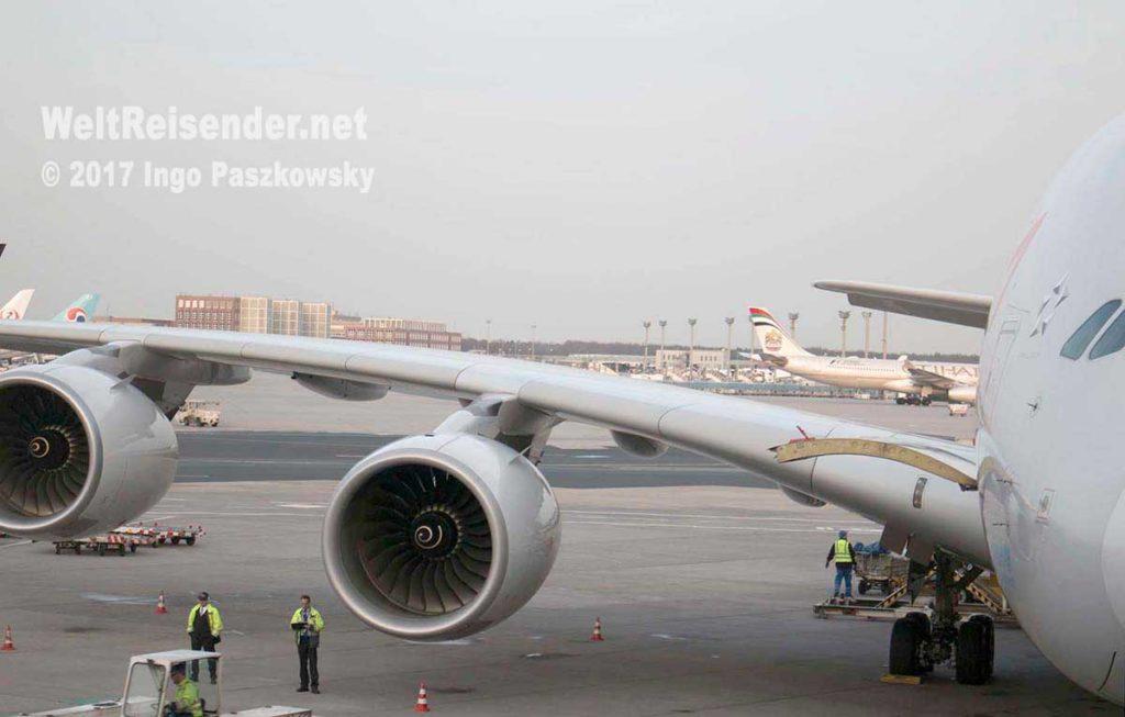 Asiana Airines A380 in Frankfurt. Foto: Ingo Paszkowsky