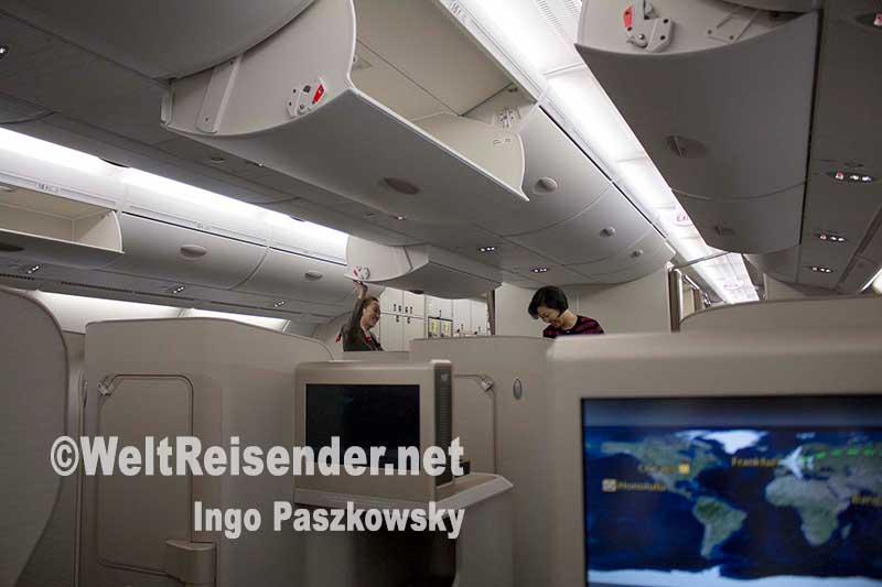Einblick in die Business Class des A380 von Asiana Airlines. Foto: Ingo Paszkowsky