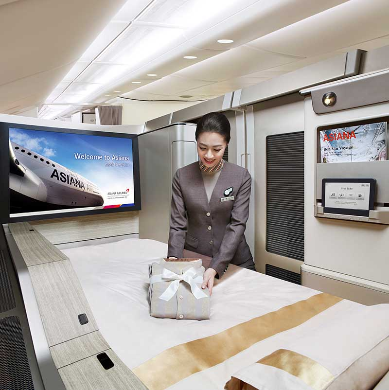 A380 Asiana First Class. Foto: Asiana Airlines