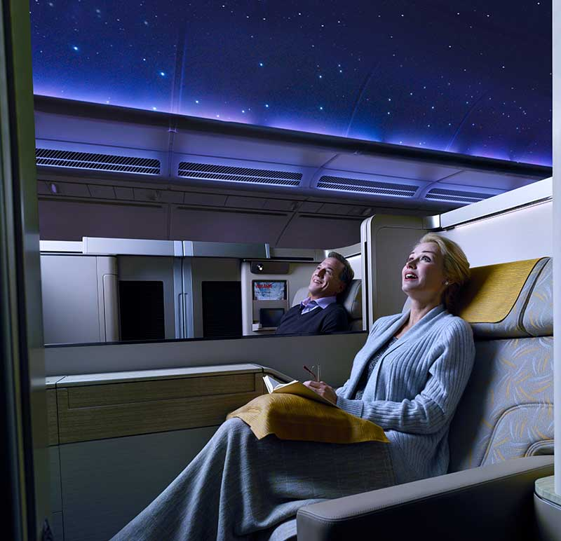 Sternenhimmel in der A380 First Class von Asiana Airlines. Foto: Asiana Airlines