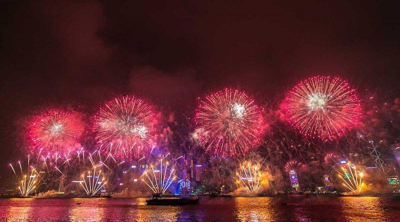Hongkong begrüßte das Neue Jahr mit Mega-Show