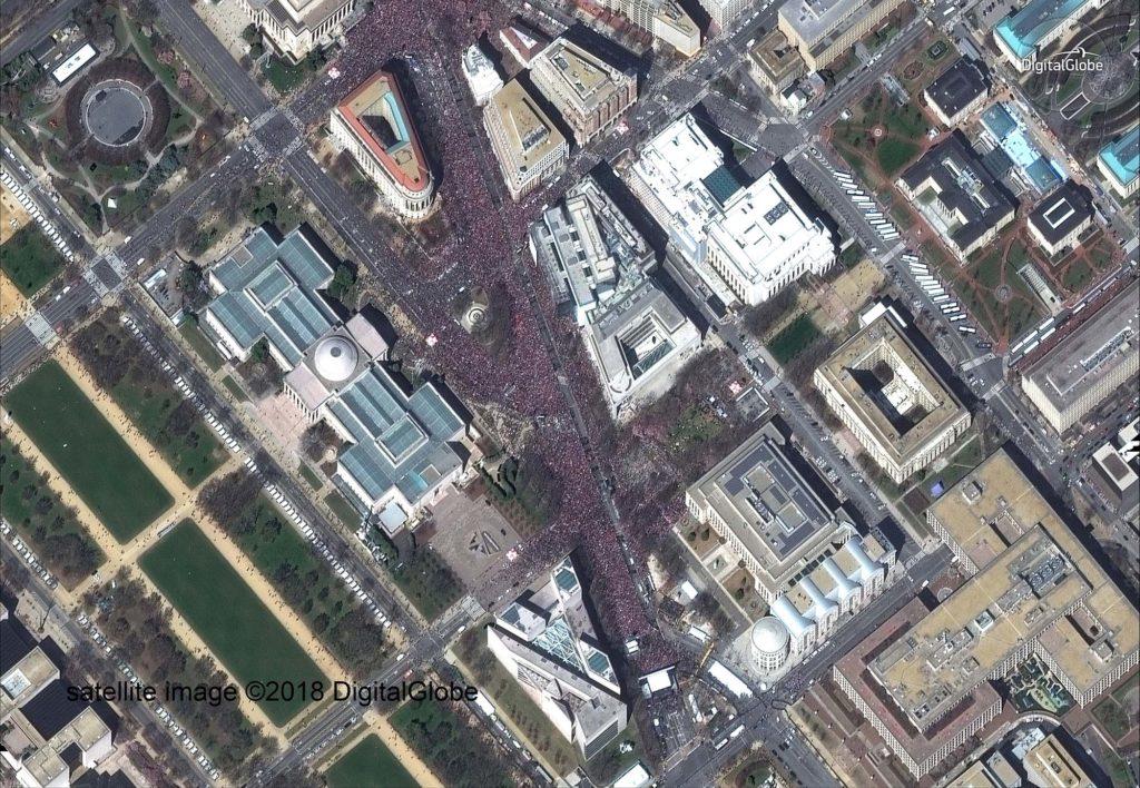 Marsch für unsere Leben in Washington, D.C. satellite image ©2018 DigitalGlobe
