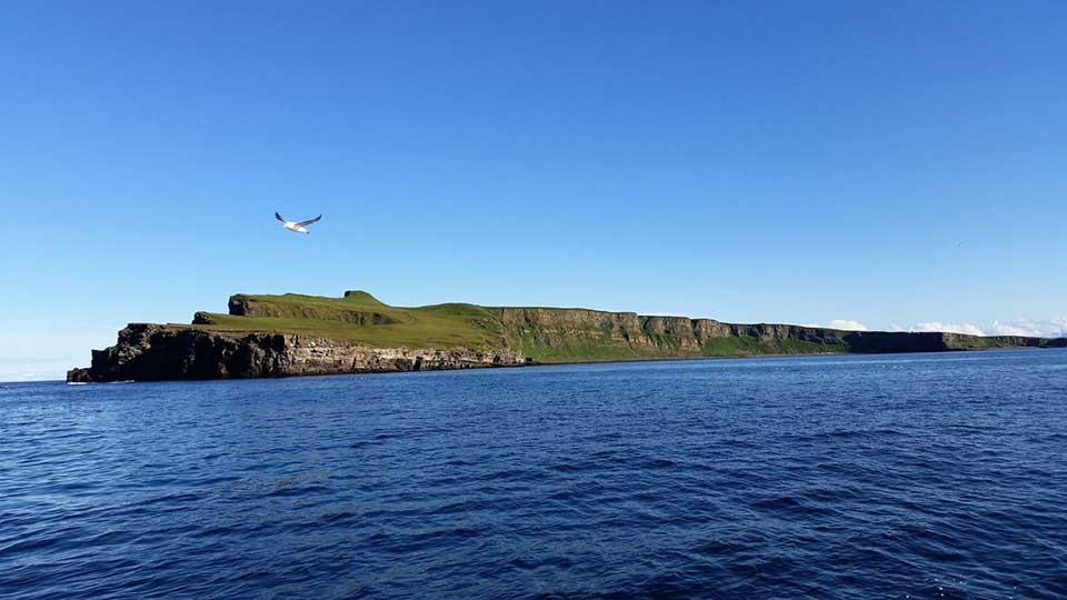Die Grímsey befindet sich direkt am Polarkreis, der durch die Insel verläuft. Foto: Artic Trip
