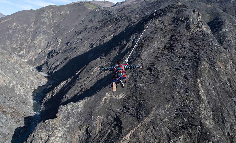 Wie heißt es immer? Nur Fliegen ist schöner. Flug über das Nevis Valley mit dem Katapult von AJ Hackett. Foto: TNZ