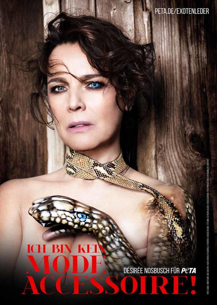 Schauspielerin und Moderatorin appelliert an Verbraucher, kein Exotenleder zu kaufen Foto: GABO für PETA