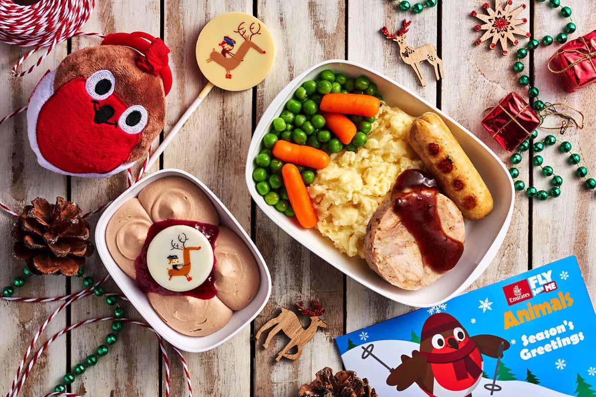 Weihnachtsmenü für Kids an Bord. Foto: Emirates