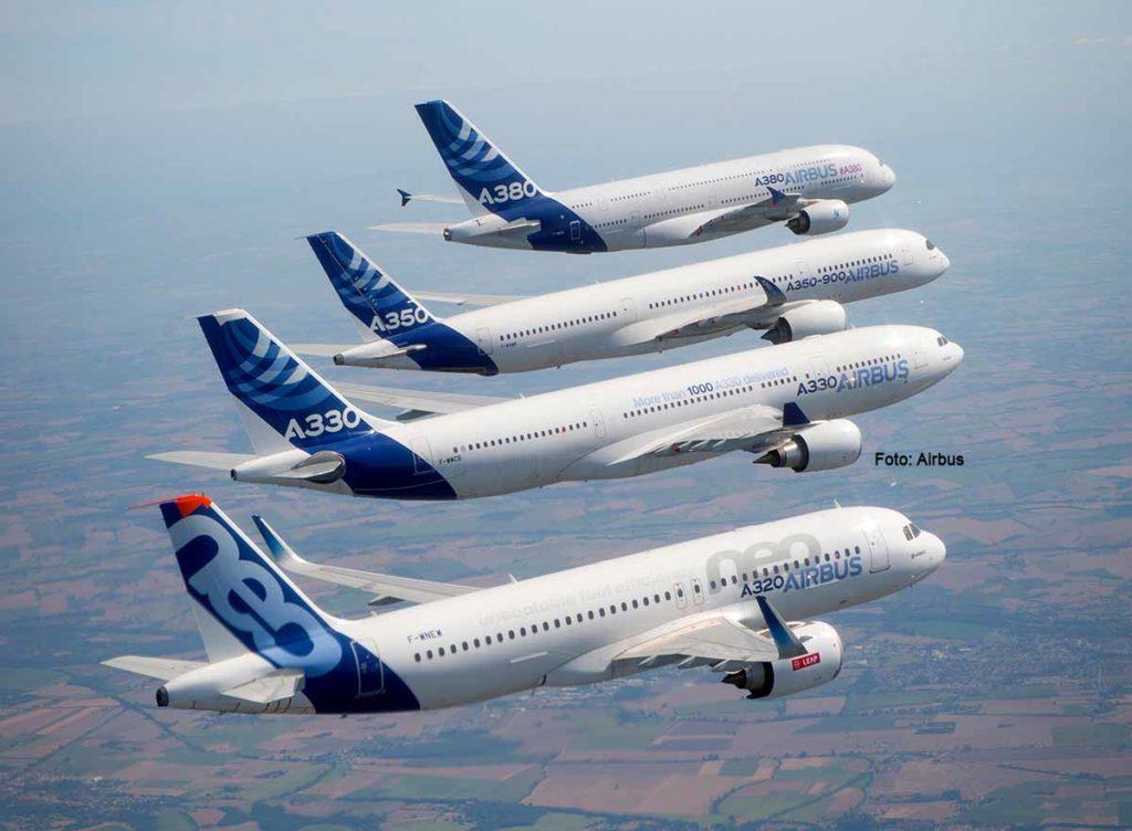 Die Airbus-Familie. Die letzte Auslieferung des A380 ist für 2021 geplant. Foto: Airbus