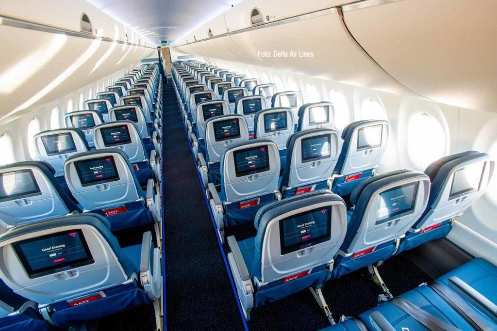 Passagiere, die ab März in Detroit und in New York-JFK im Laufe des Jahres auf ausgewählte Flüge umsteigen, kommen in den Genuss von Deltas neuestem Flugzeug, der A220. Foto: Delta Air Lines
