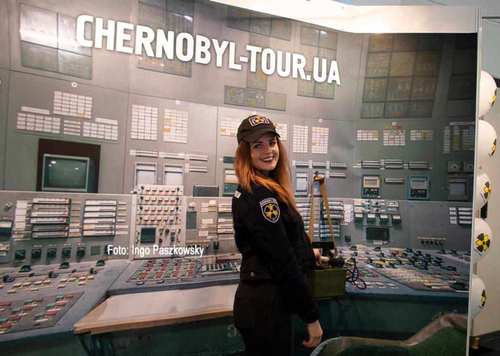 Die Sperrzone um die Kernkraftwerksruine von Tschernobyl mit Tschernobiyl Tour besuchen. Deren Stand auf der ITB 2019. Foto: Ingo Paszkowsky