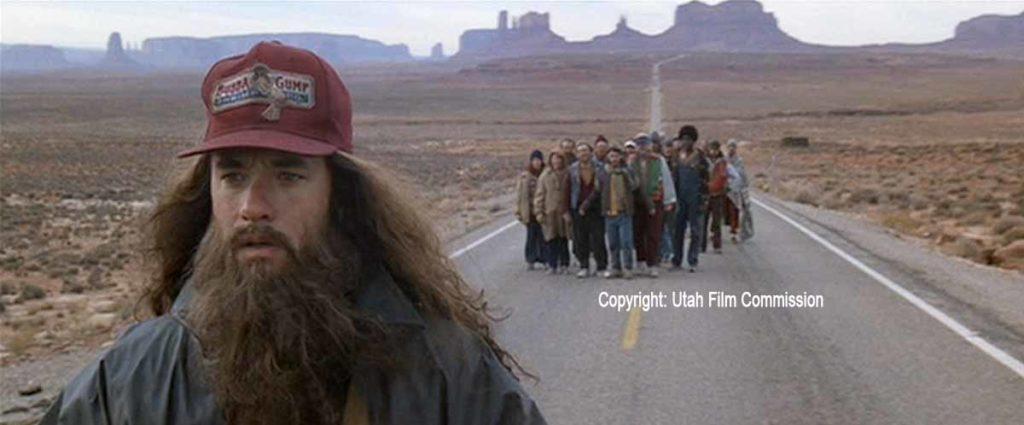 Tom Hanks als Forrest Gump im Monument Valley / Copyright: Utah Film Commission