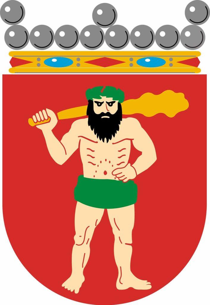 Freundlich schaut er nicht drein, der Herr auf dem Wappen von Finnisch-Lappland / Foto: Gemeinfrei