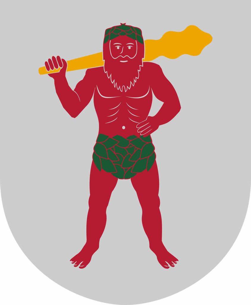 Trotz des hohen Nordens ist der Mann auf dem Wappen von Schwedisch-Lappland nur gering bekleidet. / Foto: Gemeinfrei